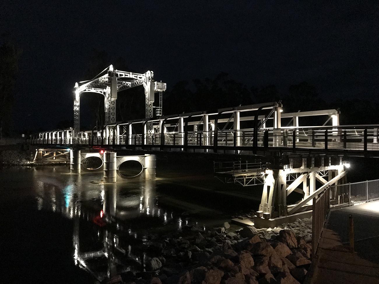 Barham Bridge at night